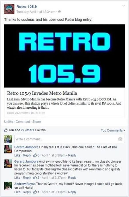 Retro DJs recognizing my blog about its pilot day.